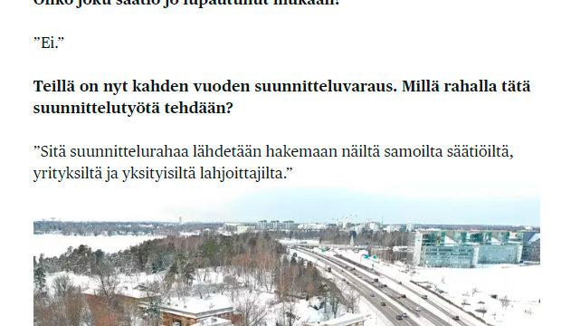 Länsiväylän varrella suunnitellaan nähtävyyttä, jonka pitäisi houkutella kaksi kertaa enemmän väkeä kuin Tukholman suositun Junibackenin / HS 23.1.2019